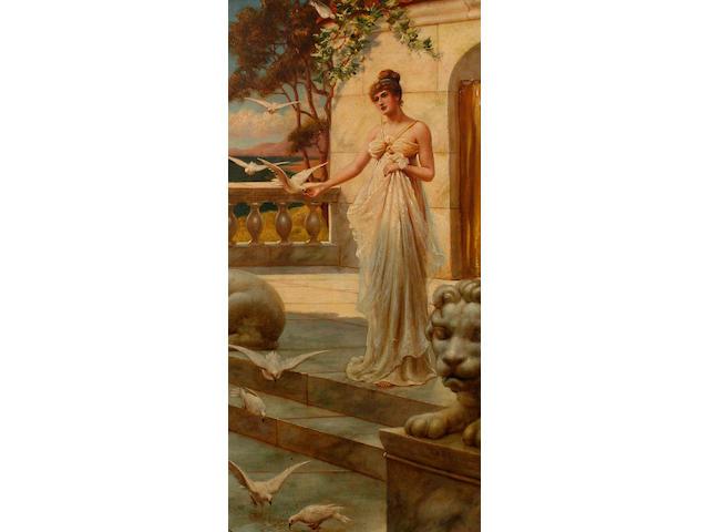 Follower of Sir Lawrence Alma-Tadema (British, 1836-1912) An elegant woman feeding birds