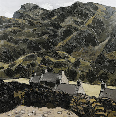 Sir Kyffin Williams, R.A. (British, 1918-2006) Farm, Nant Ffrancon 122 x 121 cm. (48 x 48 in.)
