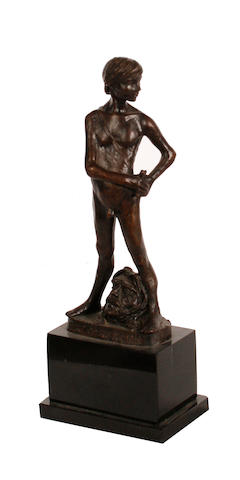 Enzo Plazzotta (Italian, 1921-1981) 'Spirit of Rebellion, 1977' 26.5cm (10 1/2in)(height, including base)