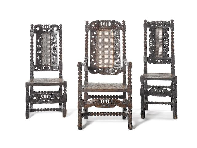 A Charles II walnut Open Armchair and two Carolean style Side Chairs