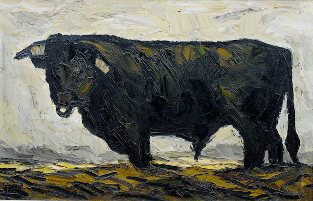 Sir Kyffin Williams, R.A. (British, 1918-2006) Bull 50.5 x 79 cm. (19 3/4 x 31 in.)