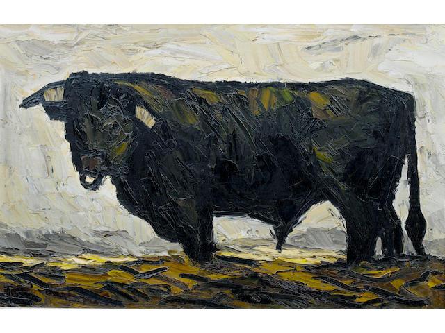 Sir Kyffin Williams, R.A. (British, 1918-2006) Bull 50.5 x 79 cm. (19 3/4 x 31 in.)
