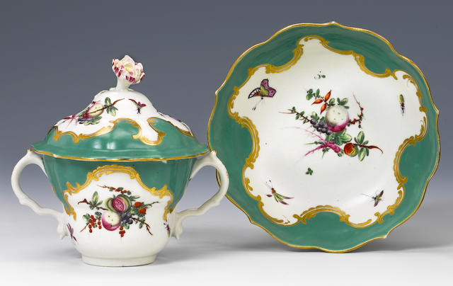 A good Worcester chocolate cup, cover and stand circa 1770