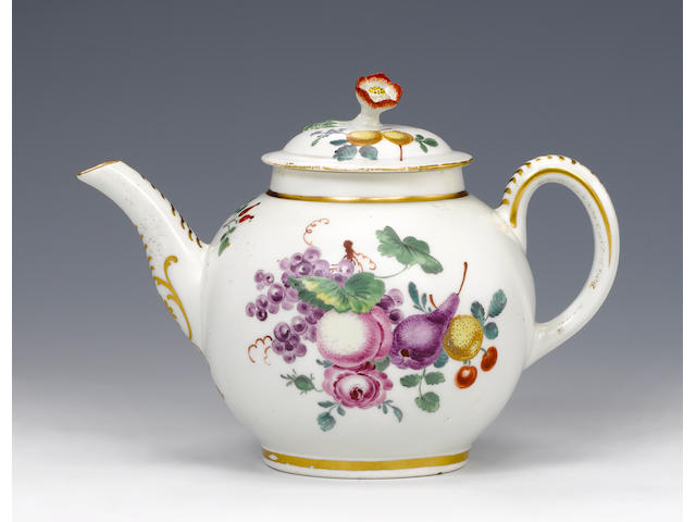A rare Worcester teapot and cover circa 1768-70