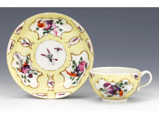 A rare Worcester teacup and saucer circa 1768-70