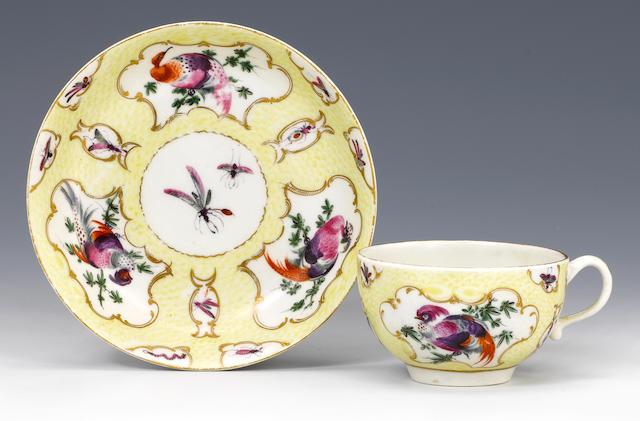 A rare Worcester teacup and saucer circa 1768-70