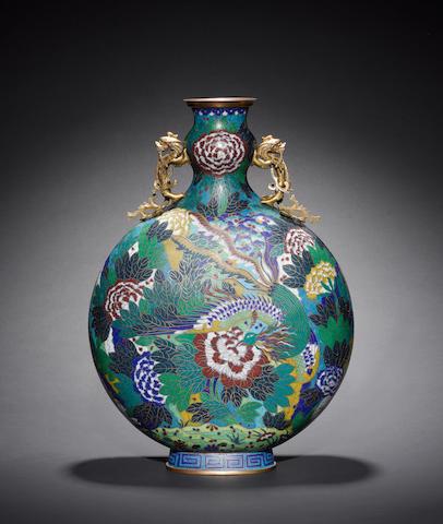 An impressive cloisonné moon vase, circa 1800