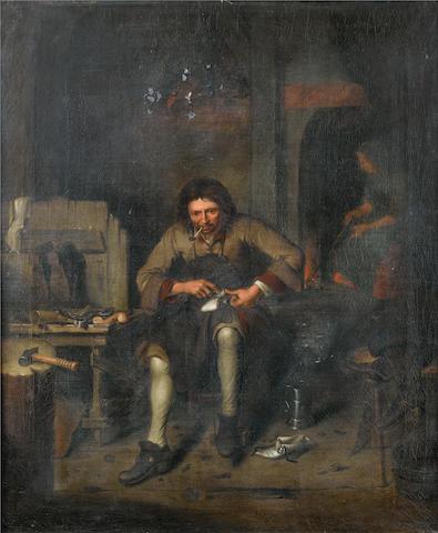Circle of Pieter Gerritsz van Roestraten (Haarlem circa 1630-1700 London) An interior with a cobbler at work