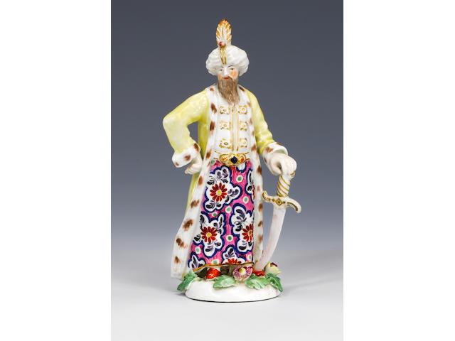 A rare Worcester figure of a Turk circa 1768-70