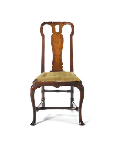 A George I walnut and sycamore seaweed marquetry Side Chair possibly by Henry Williams