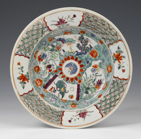 An exceptional early Worcester plate circa 1752-3