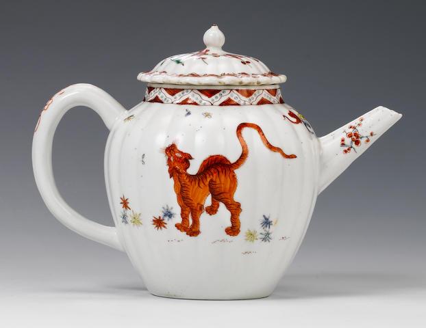 A rare Chelsea Kakiemon teapot and a cover circa 1750