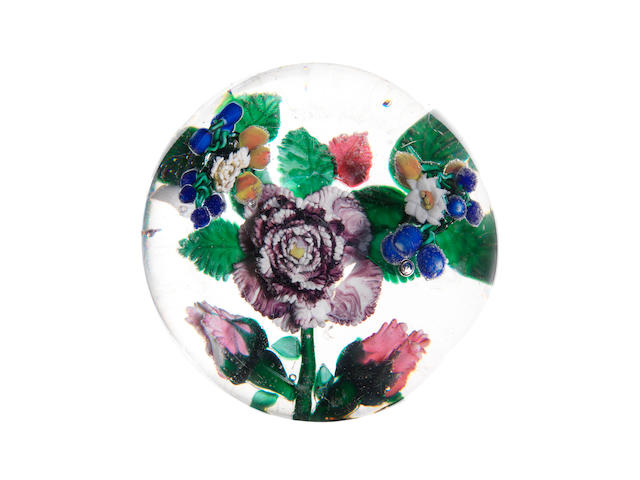 A rare Mount Washington Glass Co. magnum flower paperweight circa 1870-90