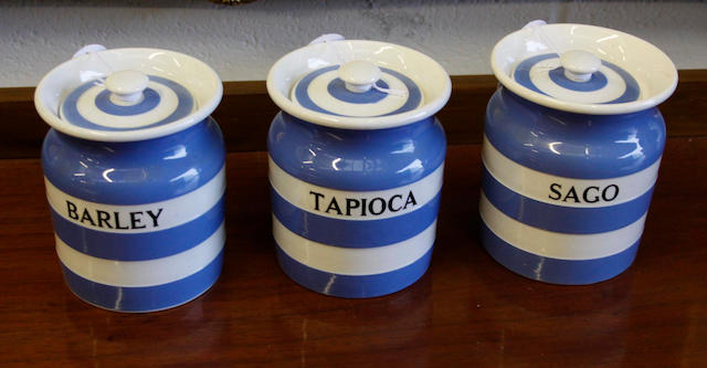 """T & G Green """"Cornish ware"""": Three jars,for tapioca, sago and barley, 13cm high (all with lids). (two with black shield backstamps) (3)"""