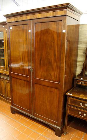 An Edwardian mahogany wardrobe,