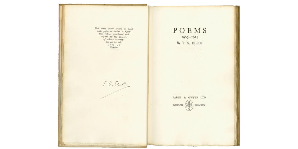 ELIOT (T.S.) Poems 1909-1925, ONE OF 85 COPIES SIGNED BY THE AUTHOR