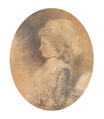 John Downman, ARA (British, 1750-1824) Mrs Smith (née Mills), profile to the left, wearing blue dress with frilled cuffs and collar dressed with ribbons at the corsage and waist, fichu, black ribbon collar, her powdered hair worn in a banging chignon, dressed with white handkerchief