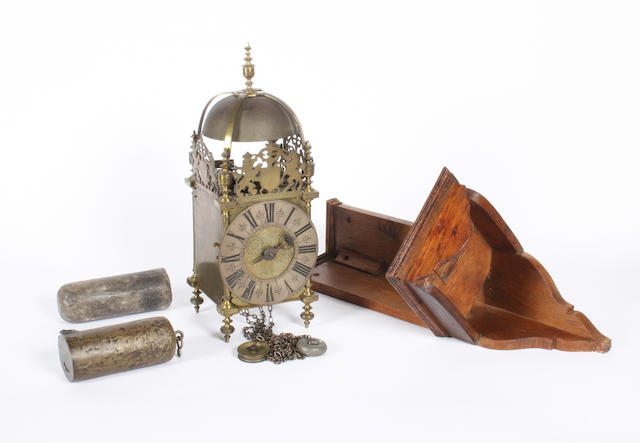 18th c brass lantern clock & later bracket