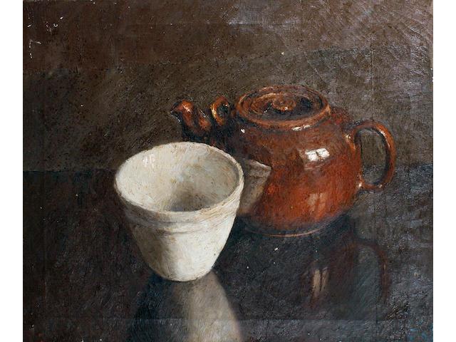 Robert O. Lenkiewicz (British, 1941-2002) Still life, teapot and white bowl