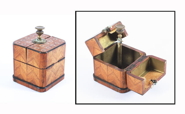 Rosewood & brass mounted tea caddy & cologne bottle