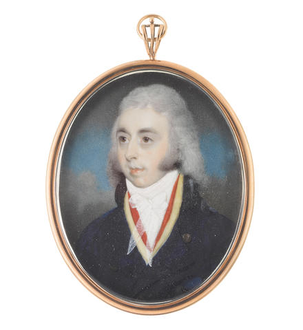 George Place (Irish, died 1805) A Gentleman, wearing blue coat with black collar, yellow waistcoat, red solitaire, white chemise and tied gauze stock, his hair worn powdered and long