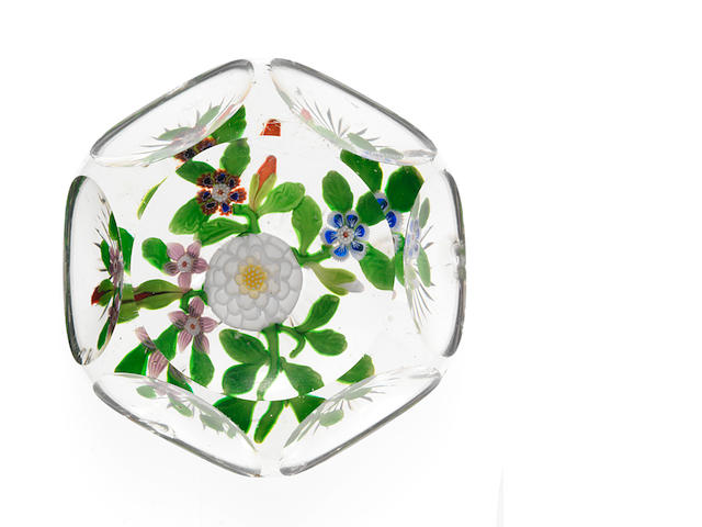 A fine Baccarat faceted bouquet paperweight circa 1850