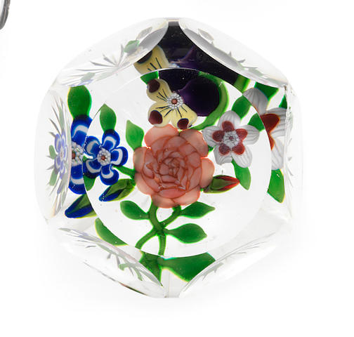 A Baccarat faceted bouquet paperweight circa 1850