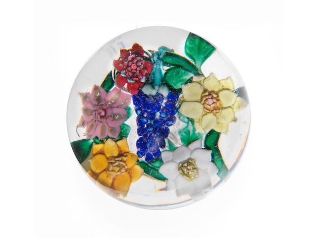 A rare Mount Washington Glass Co. magnum bouquet paperweight circa 1870-90
