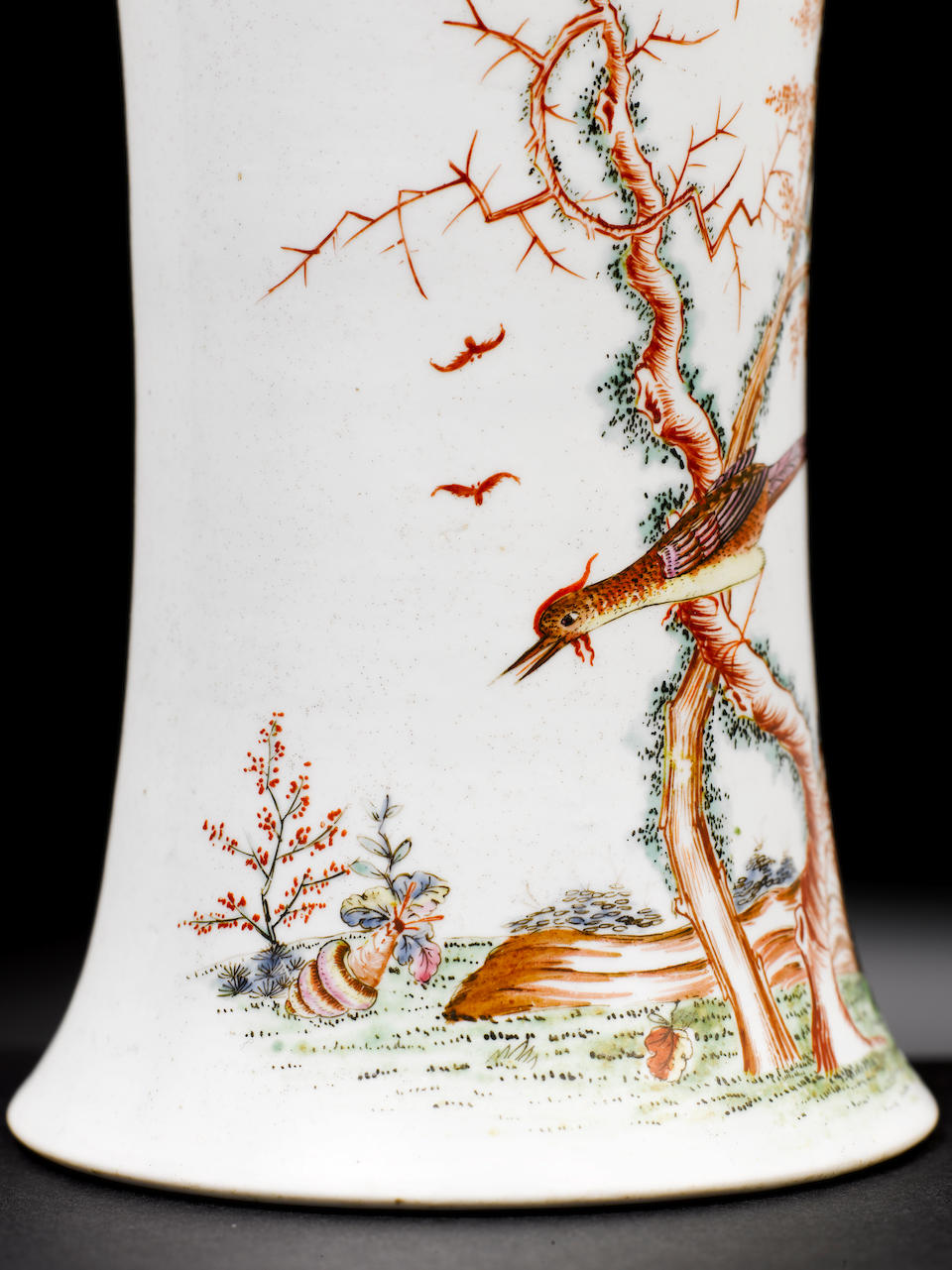 A Worcester waisted vase, bird and snail,