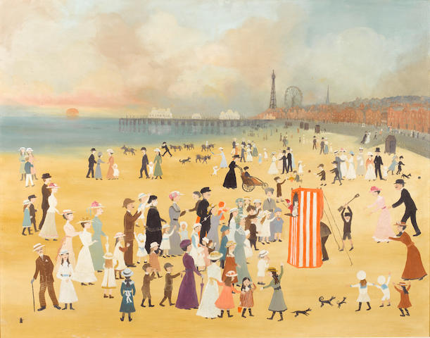 Helen Bradley (British, 1900-1979) Blackpool Beach 76 x 96.5 cm. (30 x 38 in.)