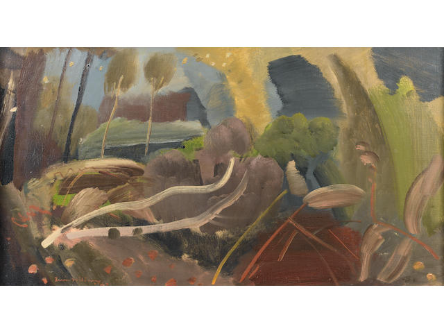 Ivon Hitchens (British, 1893-1979) Felled Trees 44.5 x 109.5 cm. (17 1/2 x 43 in.)