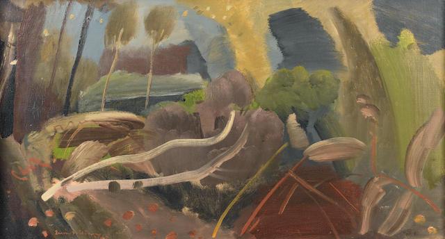 Ivon Hitchens (British, 1893-1979) Felled Trees 44.5 x 109.5 cm. (17 1/2 x 43 in.)