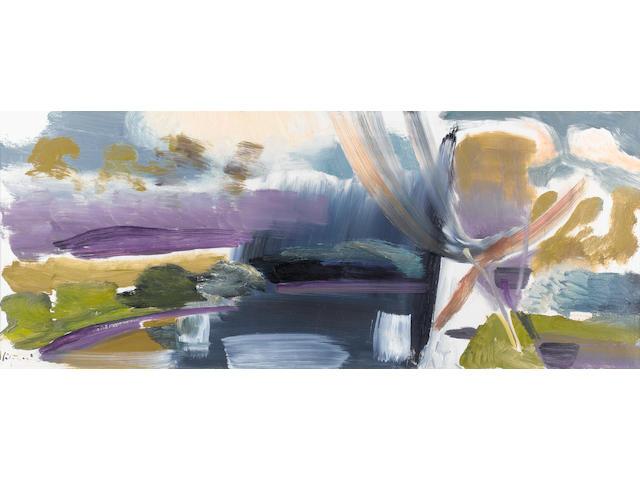 Ivon Hitchens (British, 1893-1979) Marsh Water 44.5 x 109.5 cm. (17 1/2 x 43 in.)