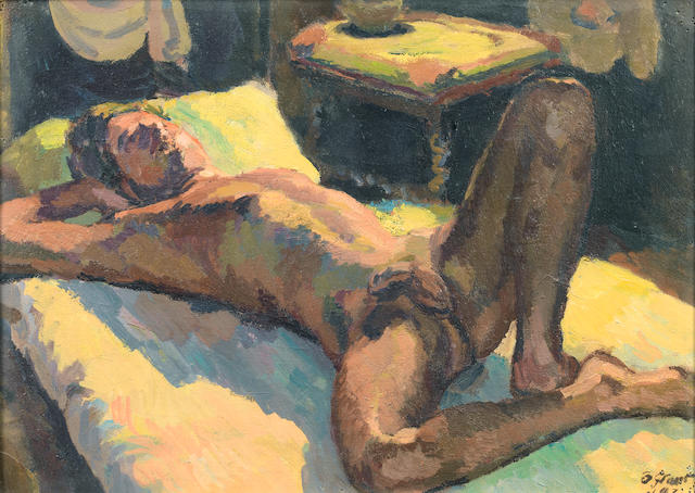 Duncan Grant (British, 1885-1978) Reclining male nude 38 x 53 cm. (15 x 20 3/4 in.)
