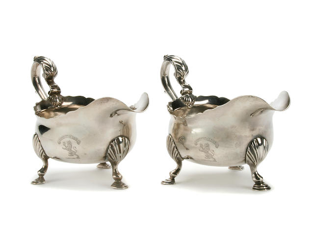 A pair of George II gravy boats by John Langlands I, Newcastle 1757