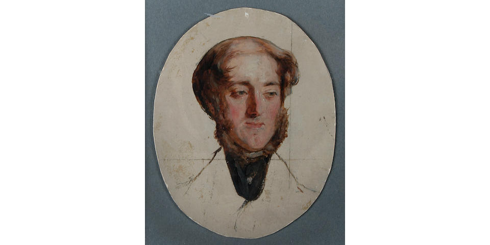 Charles Lees R.S.A. (1800-1880): An important mid-19th Century preliminary oil on paper portrait of the Earl of Eglinton Painted in preparation for 'The Golfers A Grand Match Played on St. Andrews Links 1841'. The painting has been left untouched and undivided on board.  This lot also includes a copy of 'The Golfers' by Peter N. Lewis and Angela D. Howe. 5 x 3½ inches