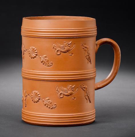 Elers redware cylinder mug, applied sprigs