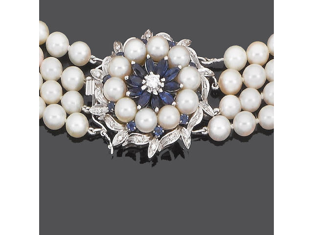 A cultured pearl necklace and bracelet with sapphire and diamond clasp (2)