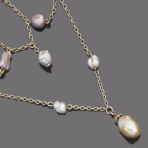 A late 19th century baroque pearl swag necklace