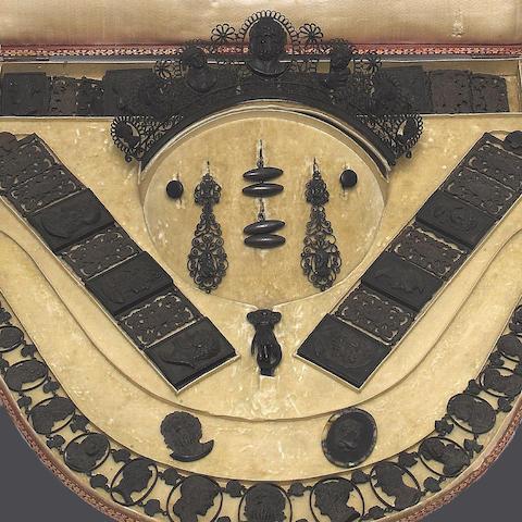 An early 19th century Berlin ironwork garniture, by Geiss (4)