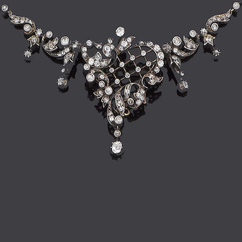 A late 19th century diamond pendant/necklace,