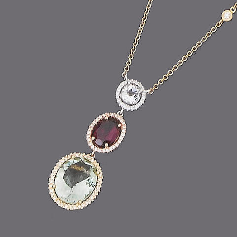 A multi gem-set and diamond pendant necklace