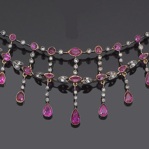A late 19th century ruby and diamond necklace
