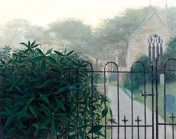 John Miller (British, 1931-2002) Church in Sancreed