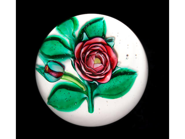 A French white-ground rose paperweight 19th century