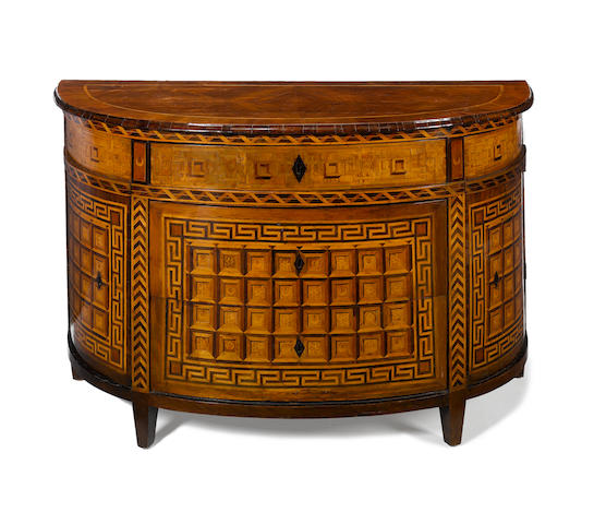 A Fine Piedmontese 18th century walnut and fruitwood marquetry demi-lune commode