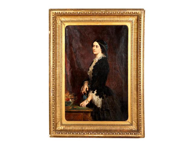 Edouard Louis Dubufe (French, 1820-1883) Portrait of Mrs Yolande Lyne Stephens, standing three-quarter length