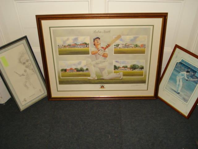 Terry Harrison, 20th Century - Robin Smith Hampshire & England, Benefit year 1996, artist signed and numbered limited edition print, further signed by Robin Smith, 50 x 68cm, and two other signed limited edition cricketing prints, again further signed by David Gower and Denis Compton. (3)