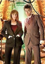 Partners In Crime, April 2008 Donna Noble (Catherine Tate), a black pinstripe two-piece suit,2