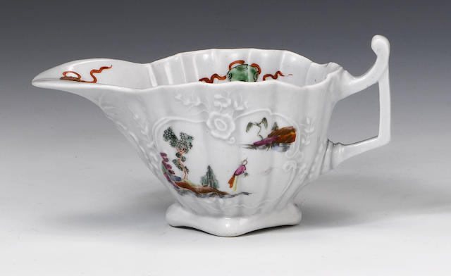 An exceptional Worcester creamboat circa 1753-4